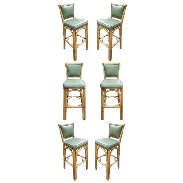Rattan & Vinyl Bar Stools - Set of 6 - Image 1 of 9