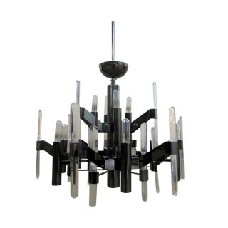 Vintage Black Mid-Century Modern Chandelier With 9 Arms For Sale