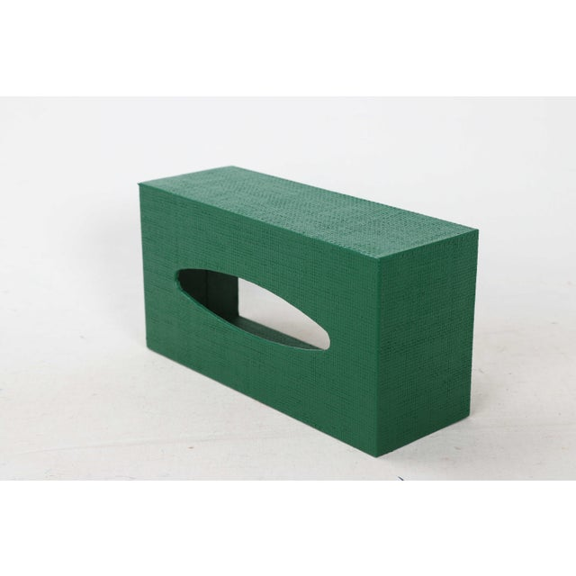 Green Linen Covered Tissue Box Cover For Sale In New York - Image 6 of 8