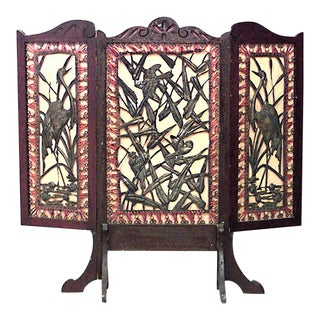 Arts and Crafts Mahogany 3-Fold Screen For Sale