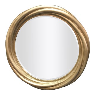 Large Hollywood Glam Round Mirror With Beveled Edge and Silver Finish For Sale