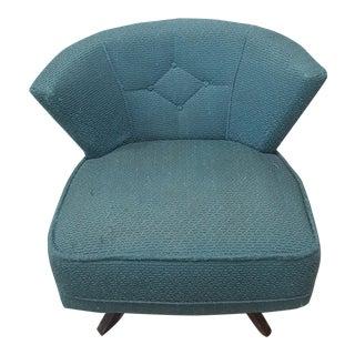 Mid-Century Modern Turquoise Kroehler Style 1950s Swivel Lounge Chair