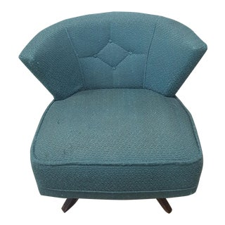Mid-Century Modern Turquoise Kroehler Style 1950s Swivel Lounge Chair - Atomic Swivel Chair