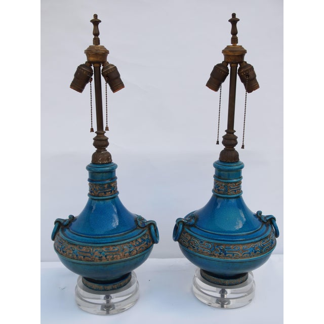 Pair of Italian Mid-Century Turquoise Glazed Lamps For Sale - Image 10 of 10