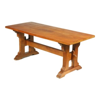 Country French Farmhouse Oak Trestle Dining Table, Ca. 1920s For Sale