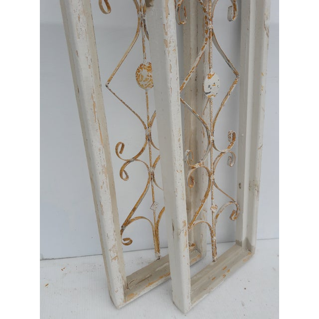 Farmhouse Rustic Farmhouse Cathedral Grill Shabby Window Wall Hangings - a Pair For Sale - Image 3 of 7