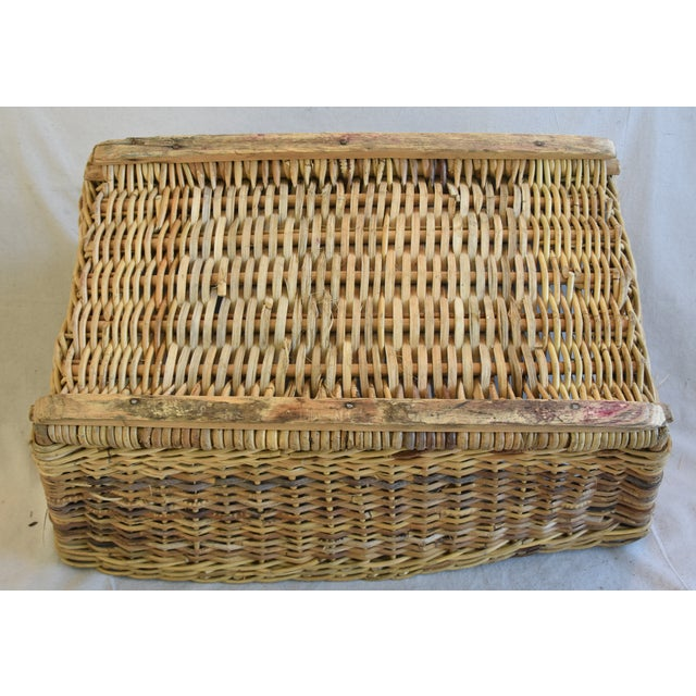 Brown Large Early 1900s French Woven Wicker/Willow Market Basket For Sale - Image 8 of 11