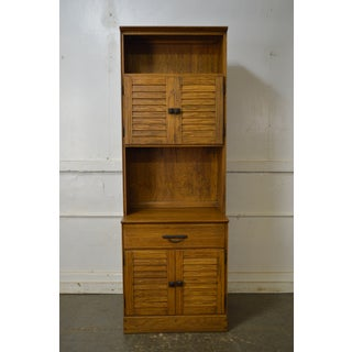 Brandt Ranch Oak Tall Narrow Bookcase Cabinet w/ Drawer & Doors Preview