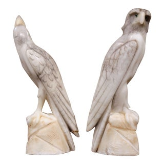 19th Century French Carved Marble Eagle and Falcon with Glass Eyes - a Pair