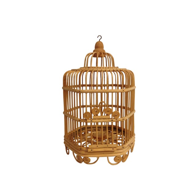 Vintage Bamboo Bird Cage - Image 1 of 6