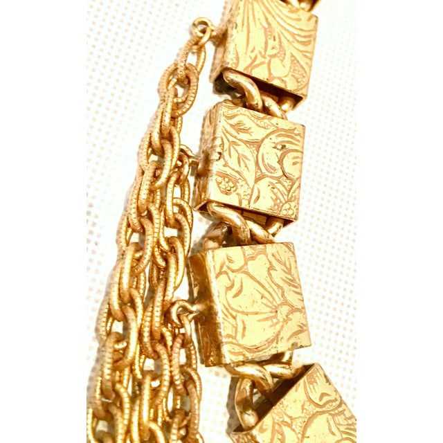 20th Century Art Nouveau Gold Book Chain Choker Style Necklace & Earrings - Set of 3 For Sale In West Palm - Image 6 of 13