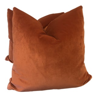 "Tangerine Velvet 22"" Pillows-A Pair For Sale"