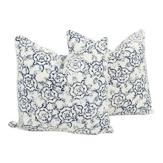 Ink Swirl Linen Pattern Pillows, a Pair For Sale