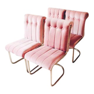 Vintage Pink Velvet & Brass Chairs - Set of 4