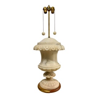 1940s Vintage Italian White Marble Urn Lamp - Part of a Pair For Sale