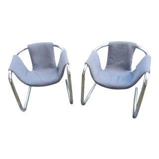 Mid Century Zermatt by Vecta Italian Chrome and Wool Cantilevered Sling Chairs - a Pair For Sale