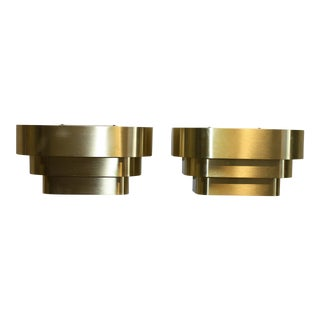 Art Deco Style Lightolier Brass Wall Sconces - a Pair For Sale