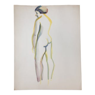 Female Nude Vintage Watercolor Painting Study 1970's For Sale