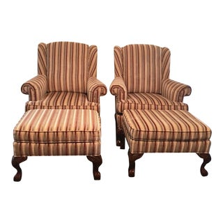 Jessica Charles Club Chairs With Ottomans - A Pair For Sale