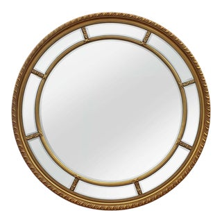 Augusta Antique Gold Solid Wood Round Wall Mirror For Sale