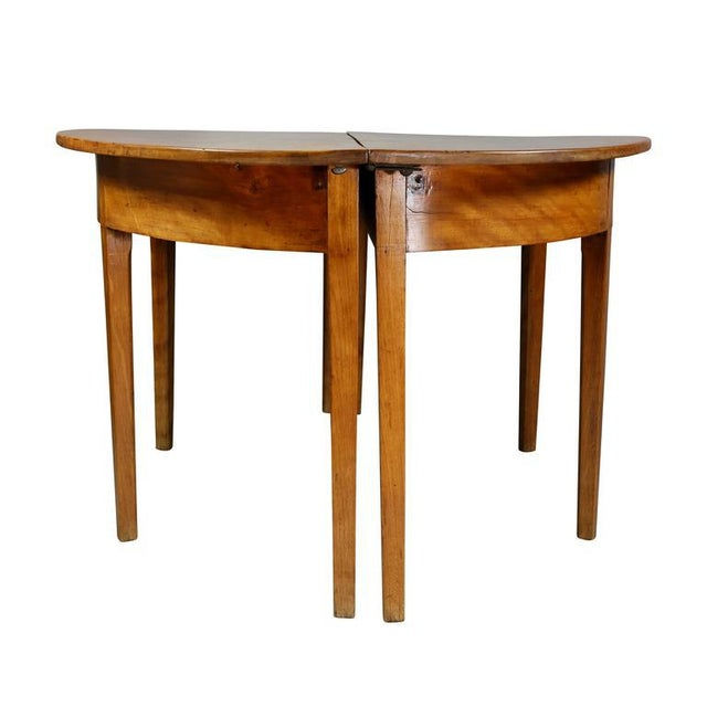 Pair of Neoclassic Birch Demilune Console Tables For Sale - Image 9 of 10