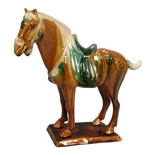 Vintage Chinese Tang Style Ceramic Horse For Sale