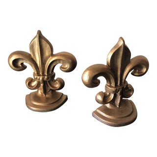 Pair of Fleur De Lis Gilded Iron Bookends