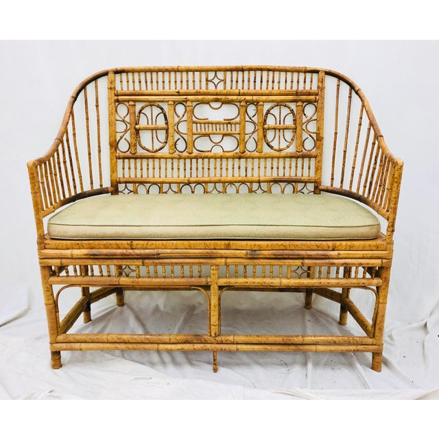 Asian Vintage Scorched Bamboo & Cane Settee For Sale - Image 3 of 13