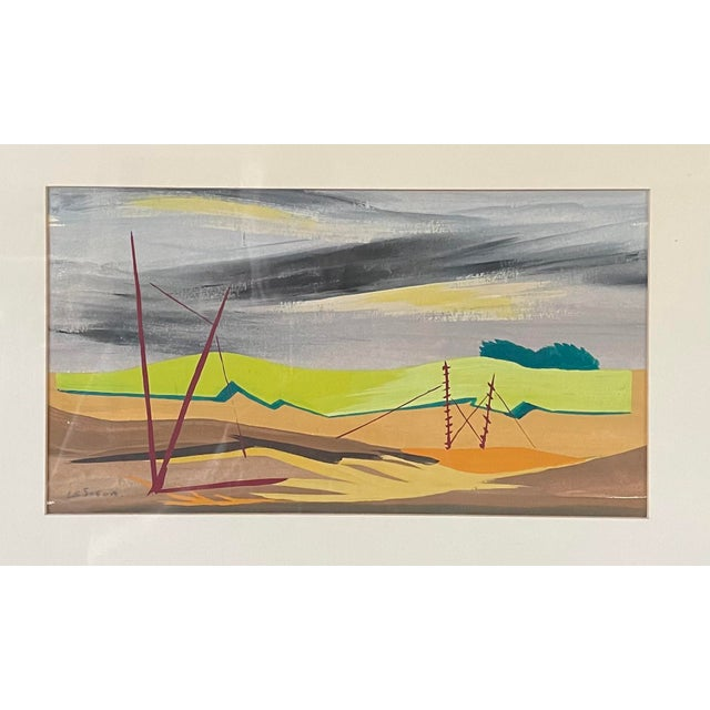 Mac Le Sueur Vintage Framed Mid Century Modern Gouache on Paper Landscape. Photographed in low light to avoid as much...