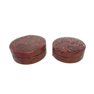 Vtg Japanese Red Lacquer Wood Nesting Boxes S/2 For Sale