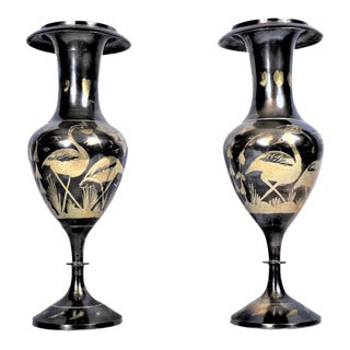Vintage Moroccan Style Metal Vases - a Pair For Sale