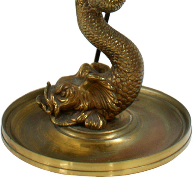 Vintage Brass Koi Fish Table or Desk Lamp - Image 2 of 2
