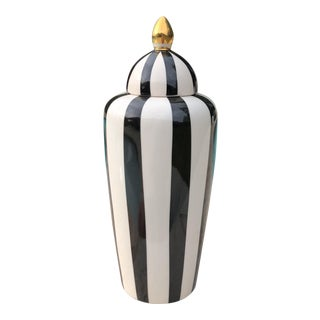 Vintage Black White & Gold Striped Urn