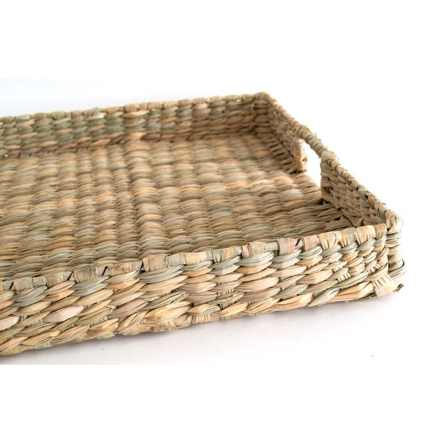 Farmhouse Handwoven Rush Tray For Sale - Image 3 of 4