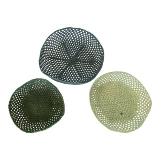 Three Yarn Crochet Baskets For Sale