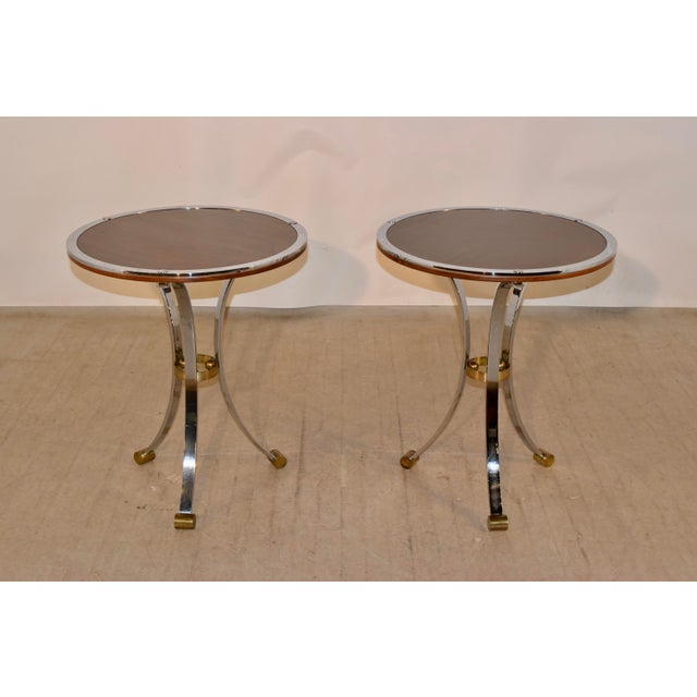 Mid-Century Mahogany and Chrome Side Tables - a Pair For Sale - Image 12 of 12