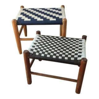 Scandinavian Style Woven Benches - A Pair