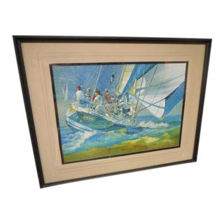 Late 20th Century Seascape Sailboat Nautical Painting by John E Ponti