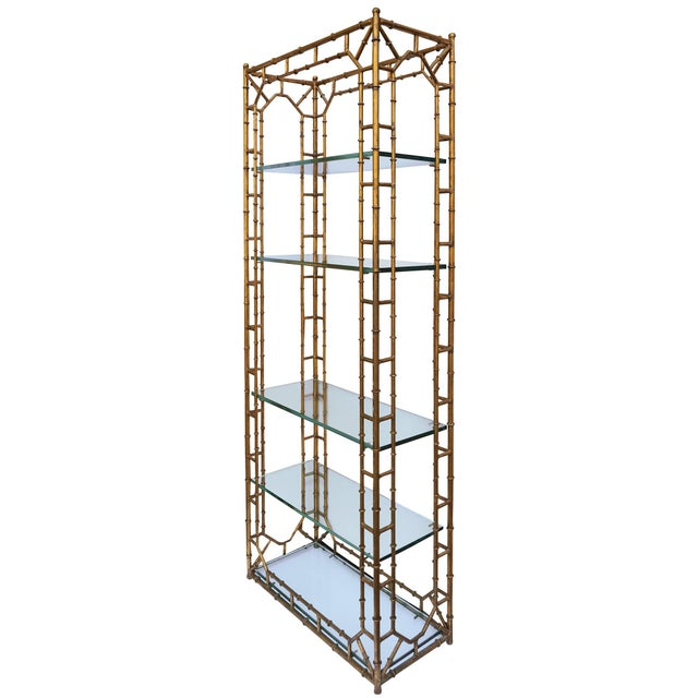 Faux Bamboo Hollywood Regency Étagère - Image 2 of 8
