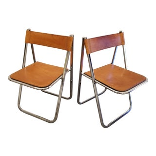 Tamara by Arrben Mid-Century Modern Chrome & Leather Folding Chairs - a Pair For Sale