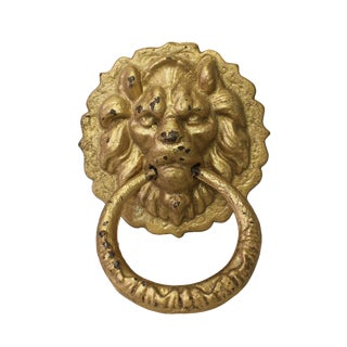 Chinese Metal Distressed Matte Gold Color Lion Head Shape Pull Handle Display For Sale
