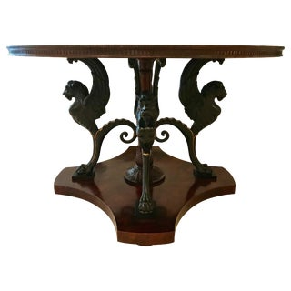 Neoclassical Center Table With Griffin Base For Sale