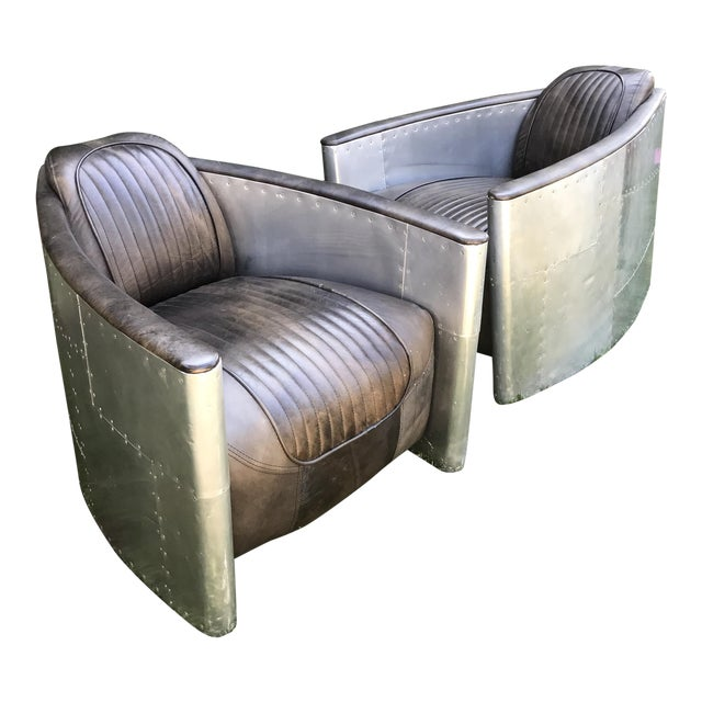 furniture aluminum chair aviator within metal leather com home markfcooper vintage accent on your plan steampunk
