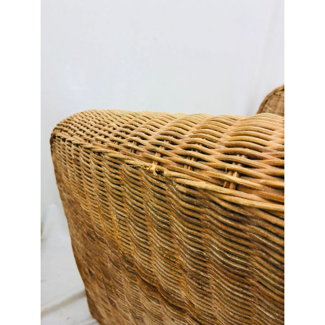 Pair Vintage Woven Wicker Club Chairs For Sale - Image 9 of 10