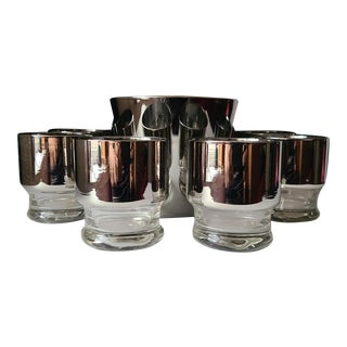 Mid Century Silver Banded, Clear Footed Rocks Glasses and Silver Ice Bucket - Set of 9 For Sale