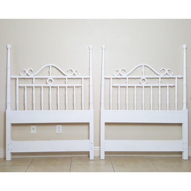 White Vintage Kensington by Drexel Twin Faux Bamboo Headboards - a Pair For Sale - Image 8 of 8