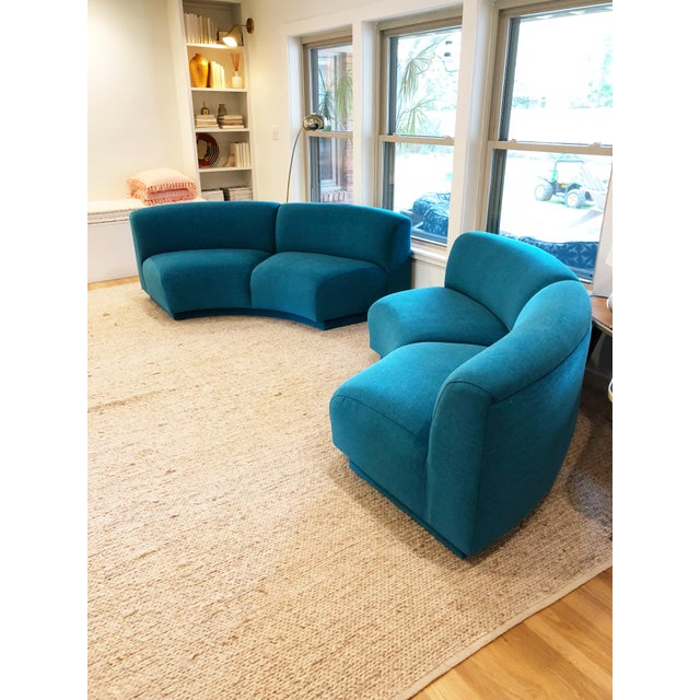 Vintage Turquoise Semi Circle Sofa - Image 9 of 9