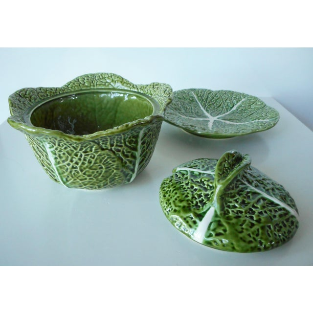 Ceramic Vintage Majolica Green Cabbage Soup Tureen & Underplate For Sale - Image 7 of 9