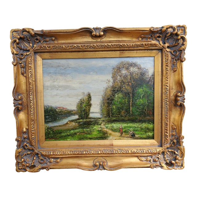 Vintage Mid-Century L. Stephano Oil on Canvas Landscape Painting For Sale