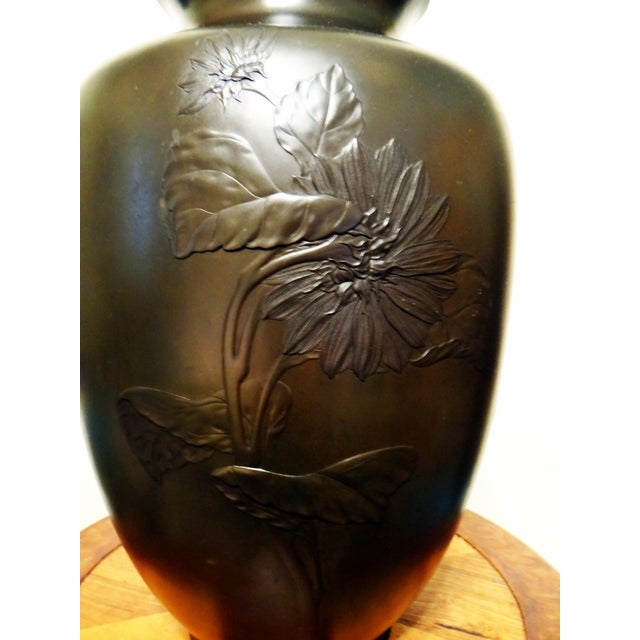 19th Century Antique Japanese Meiji Period Bronze Sunflower Motif